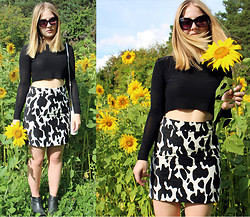 Ebba - Zara Sleeved Crop Top, Zara Cow Printed Skirt - Sunflowers