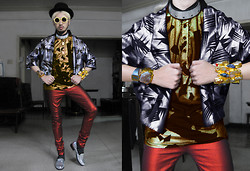 Andre Judd - Metallic Silver Jacket, Gold Abstract Print Shirt, Metallic Jeans, Ann Ong Fold Cuff With Quartz And Amethyst, Ann Ong Gold Cuff With Quartz, Mirror Slipons, Cessa Manila Oversized Wood Frames, Bowler Hat - REAL STEEL