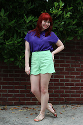 Jamie Rose - Thrift Store Purple Silk Blouse, Forever 21 Green Scalloped Shorts, Boohoo Spiked Sandals - Little Mermaid Inspired