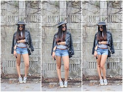 Amanda Liu - H&M Leather Jacket, Supre Denim Shorts, Converse Sneakers - All Hail to a Good Hair Day