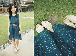 Bernice Angelica Sy - Thirfted High Low Dress, Thrifted Thick Brown Belt, From Hongkong Pink Wedges, Mango Pink Pouch - 5.22.2013 ♥