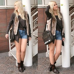 Bianca S - Esprit Fake Fur Vest, Adidas Vintage Leather Bag, H&M High Waisted Denim Shorts, H&M Shirt, Justfab Boots - Autumn clothing when calendar says summer