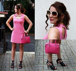 Panda Mone - Chloé Sunglasses, River Island Dress, Furla Bag, Bufallo London Heels - Pink Panther