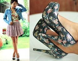 Angeline Rodriguez - Forever 21 Sequined Floral Heels, Forever 21 Purple Frilly Skirt, Style Surgery Floral Corset, Uniqlo Blue Denim Jacket - Move On