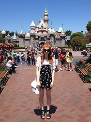 Hannah Louise - River Island Embellished Top, Motel 'Demi' Daisy Print Dungarees, Matalan Buckled Sandals - Disneyland!