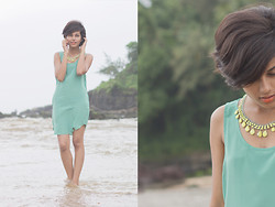 Ritu Arya - Romwe Tank Dress, Romwe Neon Jeweled Necklace, Romwe Silver Ring - A Sweet Escape