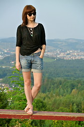 Maja R. - Lacoste Sunnies, Pimkie Top, Six Necklace, Miss Sixty Shorts - Only in the Evening