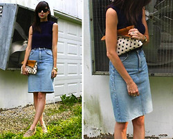 Caylee M. - Ray Ban Sunglasses, May The Label Knit Top, Thrifted Denim Skirt, Daame Polka Dot Clutch, H&M Oxfords, Michael Kors Watch - Completely yours.