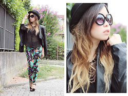 Angela Bethea - Forever 21 Black Hat, Baroque Glasses, Romwe Tasseled Necklace, Lasula Leather Jacket, Forever 21 Black Long Sleeves, Lasula Leaves Printed Leggings, Forever 21 Black Open Toe Heels - LOOK 49: My Grass is Just as Green