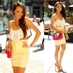 Jessica R. - Oohlaluxe White Lace Crop Top, Dailylook Rose Gold Heels - Brights and Whites