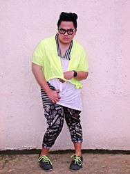 Genniel mark Angeles - Apple Eyeglasses, Mullet Neon Cover Up, White W/ Stripe Patches Polo Shirt, Printed Pants, Vintage Jazz Shoes W/ Neon Shoe Lace - APPLE!!!!