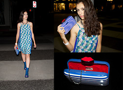 Marta Pozzan - Ella Moss Tiki Dress, Lulu Guinness White Stripe Patent Leather Clutch, Jeffrey Campbell Ondine Clear Bootie   Blue, Luv Aj White Plain Cuff - Shades of Blue