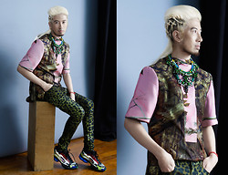 Andre Judd - Edgar Buyan Cotton Candy Forest Print Shirt, Ken Samudio Green Crystal Neckpiece, Eight Avenue Accessories Agate And Crystal Neckpiece, Mark Familara Haute Coiffure/ Couture Hair Braids, Raf Simons Hologrpaphic Sneakers - COTTON CANDY FOREST