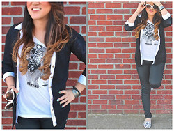 Cassandra Dotzel - Mossimo Shapeless Cardi, H&M White Button Down, H&M Men's Revolver T Shirt, H&M Studded Pants, Charles Phillip Sugar Skull Flats, Ray Ban Cat Eye Glasses - Tomorrow Never Knows