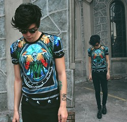 Vini Uehara - Choies T Shirt, Zerouv Vintage Retro Steampunk Costume Round Circle Flip Up Clear Lens Glasses - Fiction