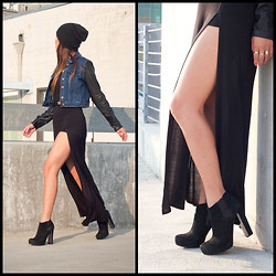 Marilyn N. - Forever 21 High Slit Maxi Skirt, Guess? Booties, Urban Outfitters Bdg Beanie, Forever 21 Jacket - High There.