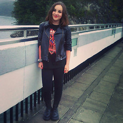 Marta O - Vintage Black Leather Jacket, Sabaton T Shirt, Cubu Black Jeans, Claire's Bracelets - Black love
