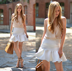 Henar Vicente - Asos Top, Asos Skirt - NUDE / WHITE