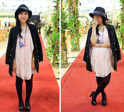 Ollyvia Laura - J.Rep Clothing Pastel Dress, Star Long Blazer, Nylon Dark Purple Tights, Avenue Black Platform, Casio Gold Watch - I'VE BEEN HERE ON LOOKBOOK SINCE 2011