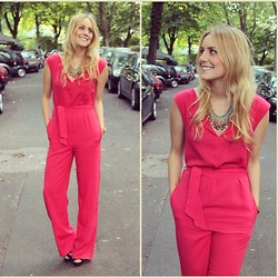 Maike Shoppisticated - Zara Overall, H&M Necklace, Pimkie Highheels - Pink overall