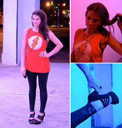 Christen L - Jack Of All Trades Superhero Tee, Modcloth Leggings, Nine West Heels - In a flash