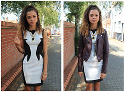 Charnelle Gardiner - Trendista Monochrome Sculpt Dress, New Look Leather Jacket, Market Find Necklace - Sculpted Dress