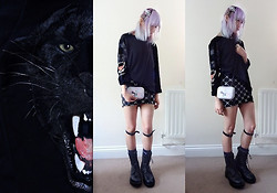 M L - Skeleton Hand Clips, H&M Black Cat Printed Top, Lilac Hair, Grey Circle Lens, H&M High Waist Pencil Skirt, Taobao Rainbow Unicorn Clutch, Diy Knee Belts, Dad's Army Boots, H&M Gun Metal Rings, Plated Hair - ROAR