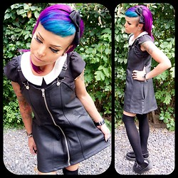Heather H - Unif Harley Dress, Jacob Peter Pan Collar Top, Tuk Black Leather Low Sole Creeper, H&M Knee High Socks - Down The Rabbit Hole...