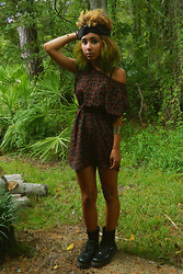 Nadja A. - Marshalls Patterned Dress, Handmade Turban, H&M Tribal Cuff, Dr. Martens Combat Boots - PRINCESS TIGERLILY