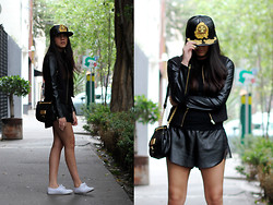 Jennifer Aranda - Jeremy Scott For New Era Cap, Forever 21 Leather Jacket, Oysho Leather Shorts, Marc By Jacobs Handbag, Keds Sneakers - Jeremy Scott for New Era pt. II