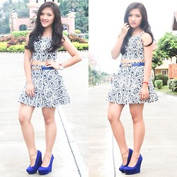 Glaiza Homez - Rainbow Project Top & Skirt, Maldita Belt, Payless Wedge - BLUE PARTY
