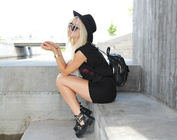 Linda R - Old Hat, Top, Old Backpack, Selfmade Shorts, Office.Co.Uk Cut Out Boots - We will never be Royal