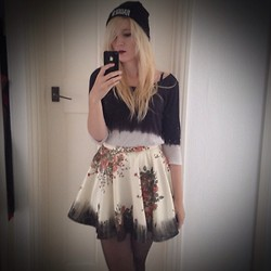 Rikki Battle - The Ragged Priest Beanie, H&M Black And White Top, Cross My Heart Apparel Custom Made Vintage Floral Skirt - Its all roses from hear
