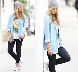 Marika F - Pura Vida Hipster Beanie, Bella Dahl Split Back Button Down In Faded Light Wash, Chaser Marianne Faithful Venue Tee, J Brand Skinny Stretch Jeans, Converse All Star Sneakers - Boho Meets Boho