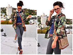Kristina Zias - Unknown Military Jacket, Sol Angeles Hollywood Land Tee, Forever 21 Grey Jeans, Gucci Vintage Purse, Lucky Brand Burgundy Printed Belt, Nine West Oxfords, 1901 Colored Laces - Hollywood Land