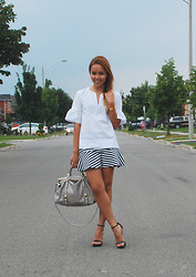 Alexis Coronado - Club Monaco Joey Top, Miu Bow Bag - Peplum on Peplum