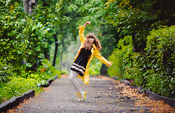 Helena Ivanova - By My Aunt Coat, Vateno Dress, Chic Wish Boots - Morning Yellow Rain