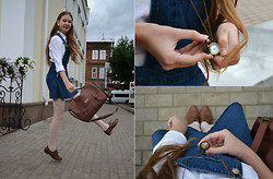 Paulina Andreeva - Kira Plastinina Shirt, Topshop Overall, Cropp Town Bag, Marco Tozzi Oxford Shoes - Alice In Wonderland