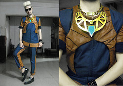 Andre Judd - Accessory Street Gold Neckplate With Turquoise, Edgar Buyan Denim Fused With Leather Jacket, Edgar Buyan Denim Fused With Leather Trousers, Underground Leopard Creepers, Cessa Square Frames With Round Lens - COMPLEX GEOMETRIES