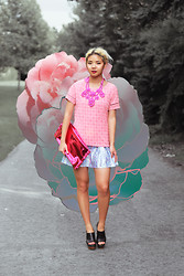 Dani Roche - H&M Top, Lanvin Necklace, Kastor & Pollux Skirt, H&M Clutch, Marni Shoes - PINK