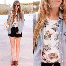 Steffy Degreff - Forever 21 Cat Shirt, Chic Wish White Bag - KITTY CATS.