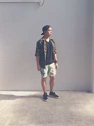 James D - H&M Black Snapback Cap, Thrift Shop Camo Jacket, Diy Ripped Denim Shorts, Nike Black Suede Sneakers, H&M Bracelets, H&M Basic Black V Neck - Same Shorts, Different Shit.