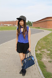 Meliani Chu - Chu Shopp Page Studded Cap, Michael Kors Bag, Chu Shopp Page Studded Flat Shoes - Black and blue