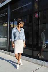 Nicole G - Club Monaco Denim Shirt, Banana Republic Grey Skirt, Converse White Sneakers - REFLECTION