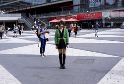 Dorian Kim - 8seconds Cardigan, Ssfw Black Dress, Uniqlo Knee High Socks - Sergels torg