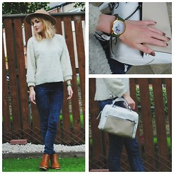 Amy Liddell - Topshop Bee Keeper Hat, Moto Acid Wash Leigh Jeans, Topshop Chelsea Boots, Urban Outfitters Bird Watch, Topshop Bowler Bag, Barry M Nail Paint In Mushroom - Autumn Preparation