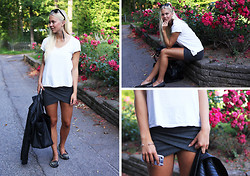 Fanny Larsson - Gina Tricot Overlapped Skirt, Zara Totebag, Nly Trend Spiked Shoes, Ray Ban Wayfarer - About less is more