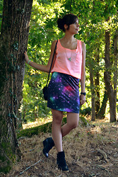 Sweety Mely - Babou Pink Top, Mim Galaxy Skirt, La Halle Sneakers, Tati Little Bag, Casio Watch - My galaxy skirt