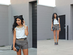 Sharena C. - Greylin White Embroidered Top, Capwell+Co Blue And White Necklace, Topshop Black And Gold Sandals - Breezy