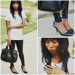 Cortne Morgan - J. Crew Basic White Tee, Alexander Wang Rocco Bag, Michael Kors Classic Black Pumps, Nordstrom Liquid Leather Leggings, Henri Bendel Gold Ring - Faux Leather